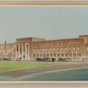 A watercolour painting of the Civic Centre