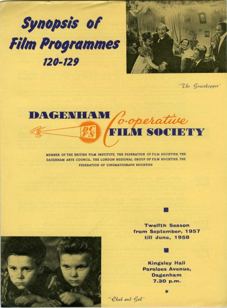 Front page of the Dagenham Co-operative Society's film programme for 1957 to 1958