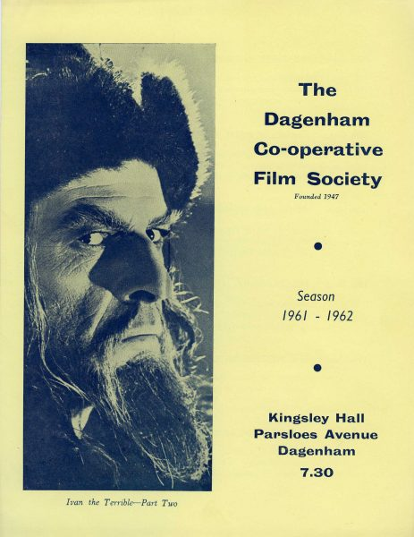 Front page of the Dagenham Co-operative Society's film programme for 1961 and 1962