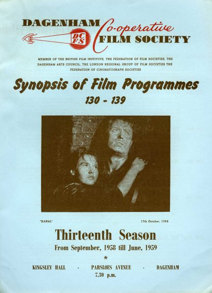 Front page of the Dagenham Co-operative Society's film programme for 1958 to 1959