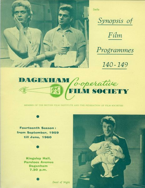 Front page of the Dagenham Co-operative Society's film programme for 1959 to 1960