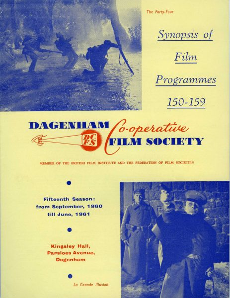 Front page of the Dagenham Co-operative Society's film programme for 1960 and 1961