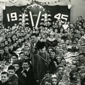 a 1945 victory party in Dagenham