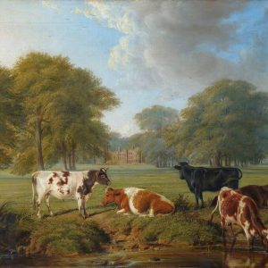 Painting of Parsloes Manor from the Gorse Brook with cows in the foreground