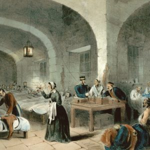 The Lady with the Lamp illustration showing a nurse on a ward at the Crimea