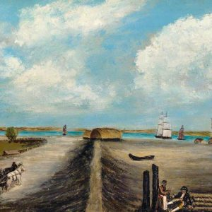 Painting of Dagenham Breach House with sail boats on the river