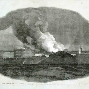 The Siege of Sebastopol - Desctruction of the Southern Part of the Large Barracks. An etching.
