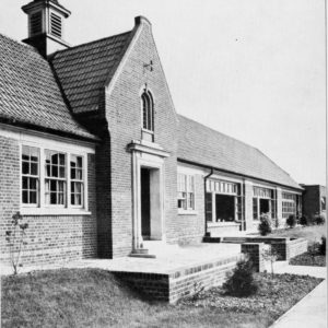 A black and white photograph of the main entrance of Dorothy Barley Junior School, 1934.