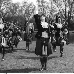 The Dagenham Girl Pipers performing in the grounds of Valence House, Dagenham
