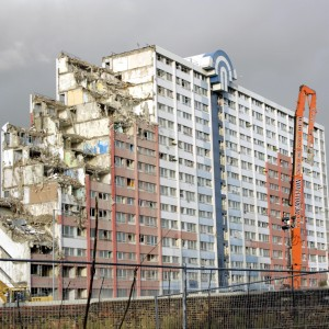 Barking Town Centre flats being demolished in 2007