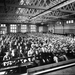 The interior of the recreation hall at Sterling Works in 1918