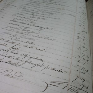 Page of an account book for Parsloes Manor