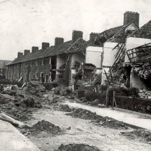 Bomb Damage in Dagenham showing largely demolished houses