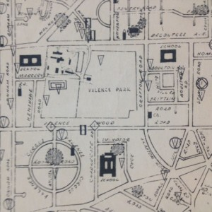 Section of the Dagenham Bomb Map showing Valence Park and the surrounding area