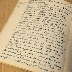 Page from the minute book of the Amalgamated Workers Union
