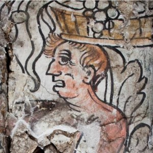 Close up of the 16th century wall painting at valence house