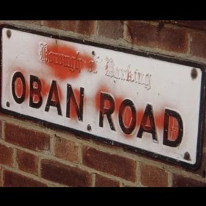 Road sign for Oban Road, Barking